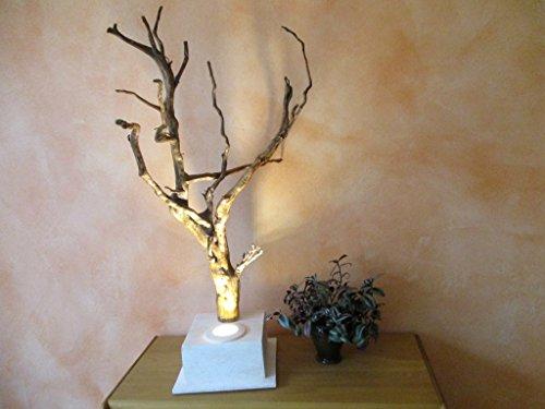 Hochwertige beige LED Stehlampe, Tischlampe, Stehleuchte, Skulptur aus Keramik, Ton und geölter Wurzel, ca. 85 x 40 x 48 cm, GU10 mit Schnurschalter, inkl. Leuchtmittel, handgefertigtes Einzelstück