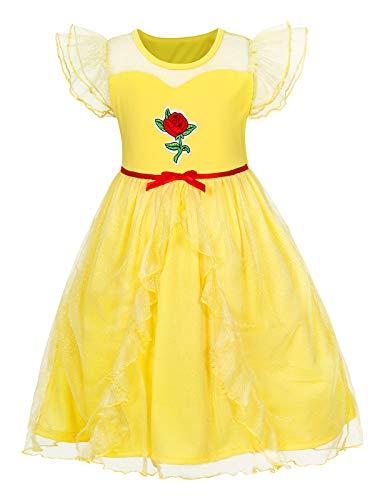 AmzBarley Prinzessin Belle Kostüm Kleid Kinder Mädchen Party Schick Kleider Cosplay Kleidung Halloween Karneval Ankleiden Geburtstag Zeremonie Rollenspiel (Kreative Mädchen Kostüme Für Halloween)