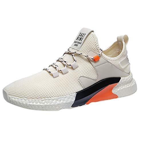 Air Jordan 3 Cool Grey (CUTUDE Herren Sommer Laufschuhe Turnschuhe Bequem Mesh Ultra-Leicht Atmungsaktive Fitness Sportschuhe Sneaker Schnürer Leichte Stoßfest (Beige, 41 EU))