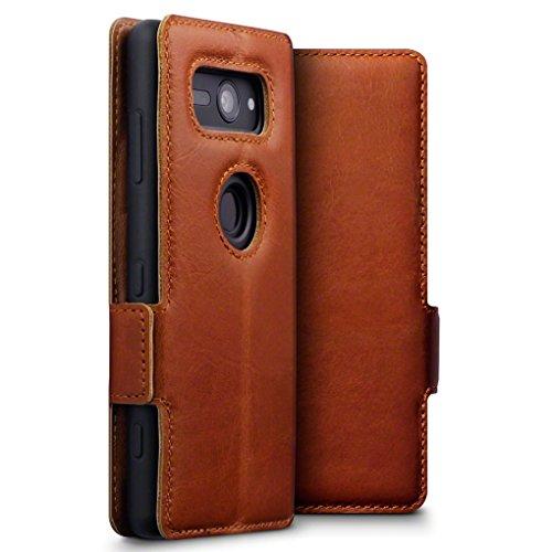 TERRAPIN, Kompatibel mit Sony Xperia XZ2 Compact Hülle, ECHT Leder Börsen Tasche - Ultra Slim Fit - Betrachtungsstand - Kartenschlitze - Cognac