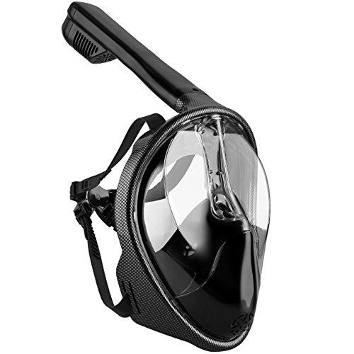 Tauchmaske, OMorc Seaview 180 ° Easybreath Schnorchelmaske für Erwachsene und Jugendliche, Revolutionäre voll trockenen Tauchermaske mit Anti-Fog-und Anti-Leak-Technologie, verhindert Gag Reflex mit Tubeless Design (S/M)