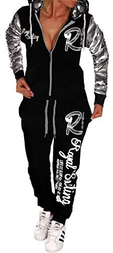 Unbekannt Damen Jogginganzug Trainingsanzug Hose Jacke Streetwearl Hausanzug Fitnessanzug Royal Sailing (Camouflage-Grau, XXL (fällt aus wie 46-48))