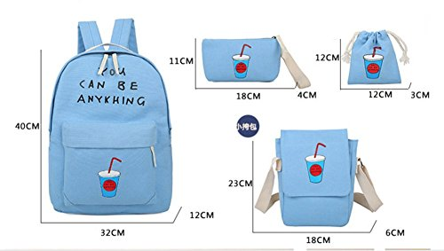 Ohmais 3PCS Rücksack Rucksäcke Rucksack Backpack Daypack Schulranzen Schulrucksack Wanderrucksack Schultasche Rucksack für Schülerin abricot