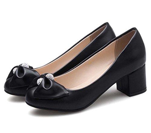 Scarpe da lavoro di scarpe casuali Slip-on Scarpe basse in tacco basso scaloppico Bow Bow Diamond Black