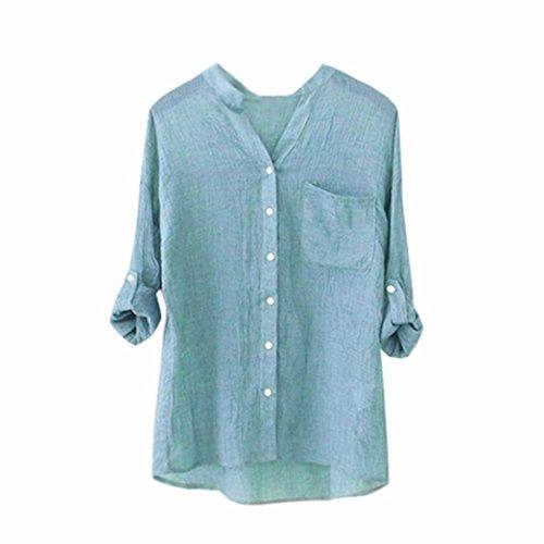 Toamen Chemisier Femmes, Coton et lin En vrac Sept manches Tops Décontractée boutonnées T- shirt (M, Bleu)