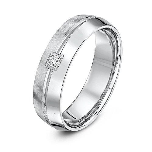 Theia 9ct Weiß Gold, HIS & HERS rund Trilogie Diamant Zinken Set Hochzeit Ring, R