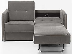 Schlafsofa Merina Grau Blau Weiss Mikrofaser Stoff Sofa Couch Schlafcouch Mit Federkern Bettfunktion Grau