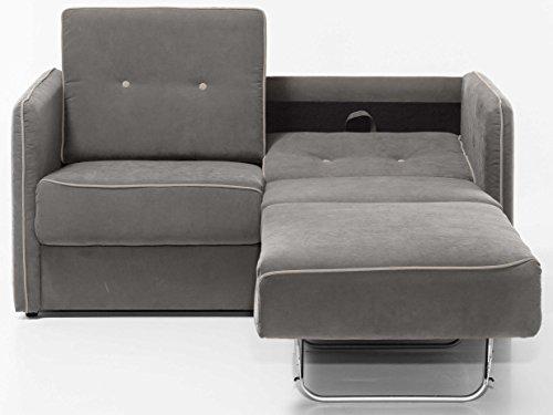 federkern schlafcouch Schlafsofa Merina Grau Blau Weiß Mikrofaser Stoff Sofa Couch Schlafcouch mit Federkern Bettfunktion (Grau)