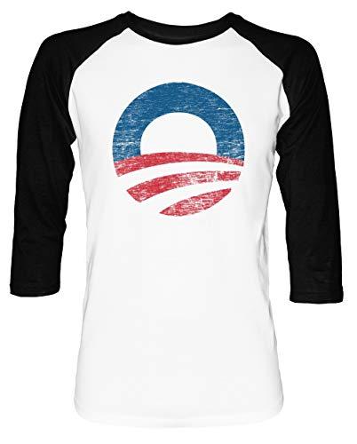 Barack Obama Weißes T-shirt (Retro Obama Logo Herren Damen Unisex Baseball T-Shirt Weiß Schwarz 2/3 Ärmel Women's Men's Unisex)