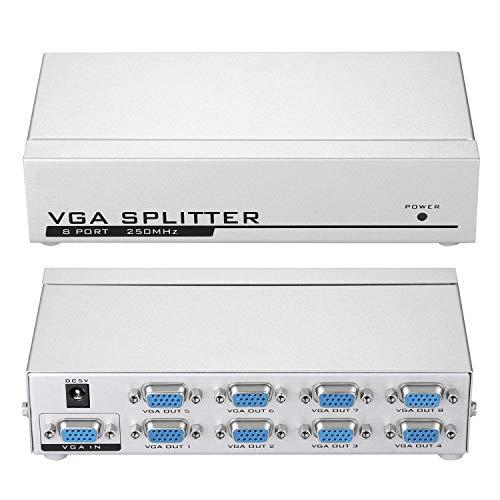 IMAGE 1 PC an 8 Monitore Splitter Box VGA SVGA LCD CRT Multi-Monitor-Monitore mit 8 Anschlüssen mit integriertem Signalverstärker 250 MHz Frequenzbandbreite 1920X1400 Auflösung - Video Splitter Box