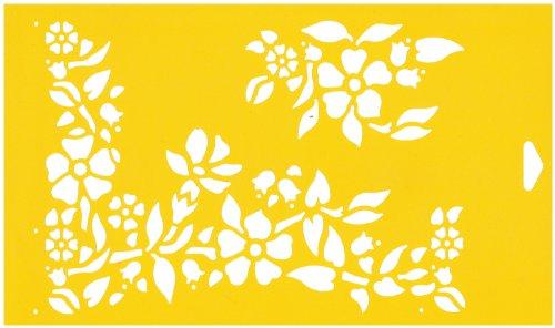 30 x 17.5cm Pochoir Réutilisable en PCV Plastique Transparent Souple Trace Gabarit - Traçage Illustration Conception de Gâteau Murs Toile Tissu Meubles Décoration Aérographe Airbrush - Fleurs Coin Feuilles Ornement