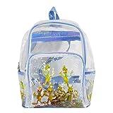 AiSi Damen Mädchen transparent Mini Rucksack Daypacks Wanderrucksack Schoolbag Schultasche mit modernem Design, durchsichtig 28cm x 13cm x 33cm, Silber transparent