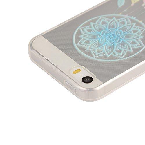 TPU Souple Etui Gel Léger Ultra Slim Flexible Anti Rayures Couverture Couverture de Protection Anti, Coque Cristal pour Apple iPhone 5 / 5s / SE Slim Coque Housse Etui +Bouchons de poussière (3QQ) 12