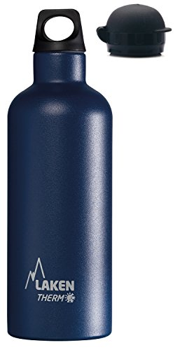 500 Laken (Laken Thermo Futura Thermoflasche Isolierflasche Edelstahl Trinkflasche Schmale Öffnung - 500ml, Blau + extra HIT Sport Trinkverschluss)