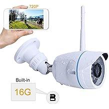 INKERSCOOP 720P IP Cámara WIFI Exterior de Vigilancia Seguridad Impermeable IP66 Visión Nocturna Visualización Remota Alarma Detección Movimiento Compatible con iOS y Android con La Tarjeta 16G SD
