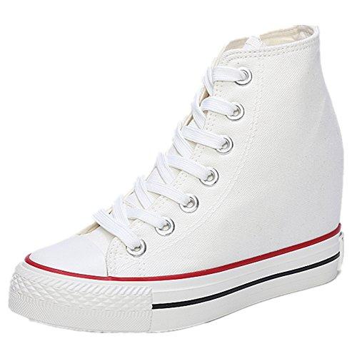 wealsex Sneakers Compensées Montante Femme Basket Toile Chaussure Confort