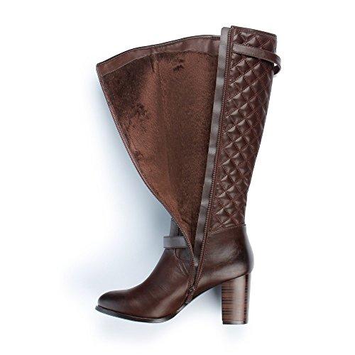 Ideal-Shoes Klassische Stiefel und Elektroschock Laurine mit Matte Braun - braun