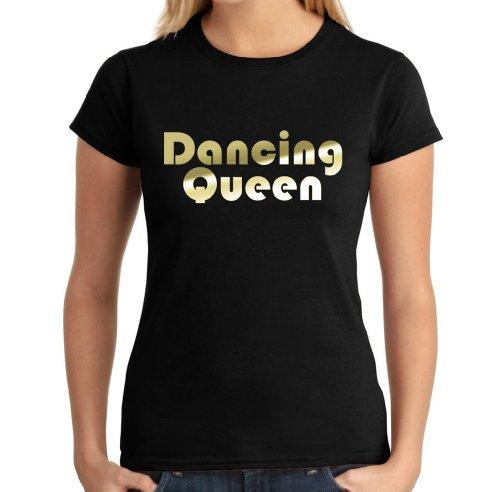Dancing Queen Metallic Gold Ladies T-Shirt, S to XL