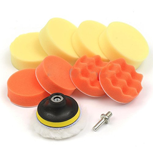 Buyworld Polishing Pad and Hand Buffer Set with Drill Adapter for Car Polish Buffing, 3-inch (Pack of 10 Pieces)