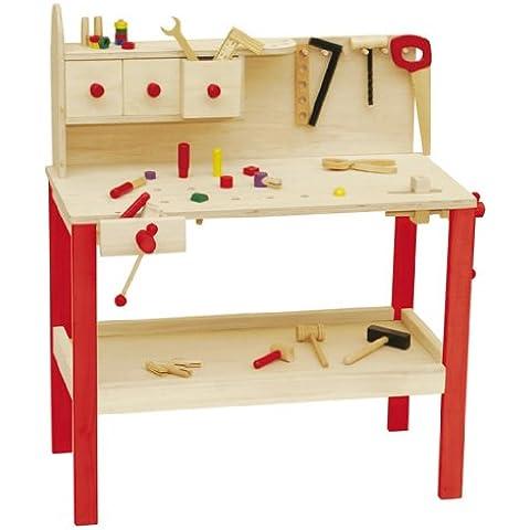roba 97210 - Mesa de herramientas de madera con 3 cajones y accesorios (85 x 73 x 41 cm) [importado de