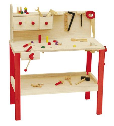 roba Werkbank, grosse Spielwerkbank aus Holz, Meister-Werkbank mit umfangreichem Werkzeug Set,...