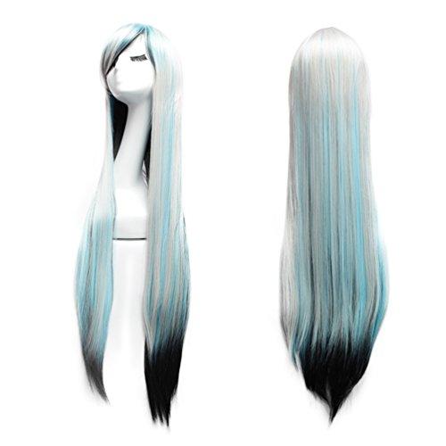 Perücke 100cm Lange Damen Haare - Sevada Sexy Damenperücken Wig für Karneval Cosplay Halloween fasching Schwarz Blau (Perücken Damen Halloween)