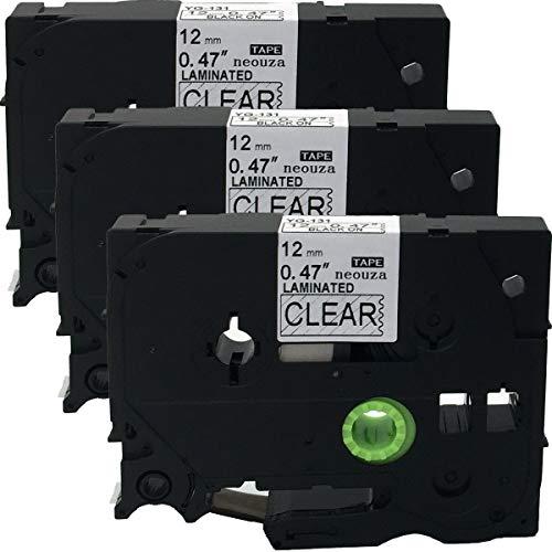 neouza 3pk kompatibel für Brother P-Touch laminiert TZe TZ Label Tape Cartridge, 12mm x 8m TZe-131 Black on Clear