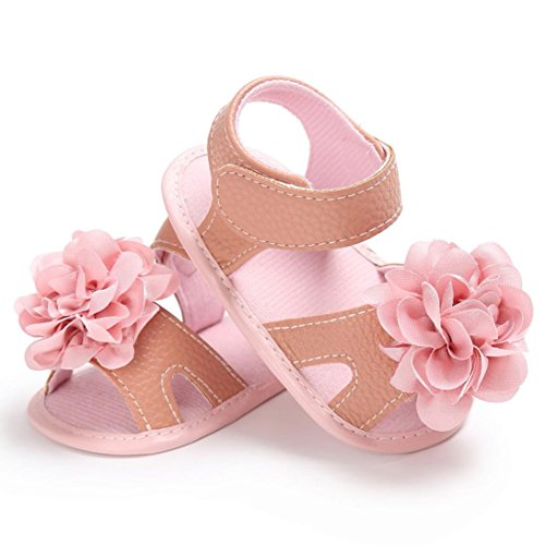 Pour 0-18 mois Bébé,Transer ® Bébé fille chaussures de berceau fleur douce semelle anti-dérapant espadrilles sandales Rose
