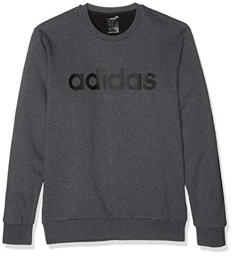 adidas Essentials Colorblock Crewneck French Terry Sweatshirt (Long Sleeve), Hombre, Dark Grey Heather/Black, L