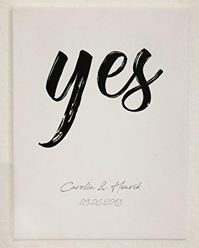 """Personalisiertes Poster zur Hochzeit DIN A4 """"Yes"""", gerahmt mit schwarzem Bilderrahmen, Hochzeitsgeschenk für Brautpaar, Geschenkidee, Hochzeit, Gastgeschenk, Poster mit Rahmen, Kunstdruck,"""