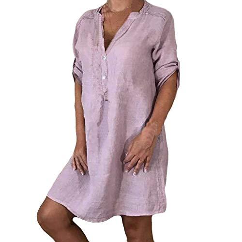 LILIHOT Frauen Freizeitkleid Halbe Hülsen Strandkleid Damen V Ansatz Sommerkleid Normallack Beiläufiges Kleid Elegant Abendkleid Abend Partykleid Mode Minikleid -