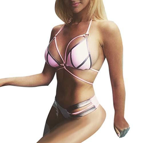QingJiu Damen Feshion Frauen Mode Bikini Push Up Set Hot Stamp Sport Bademode Gepolsterter Badeanzug -