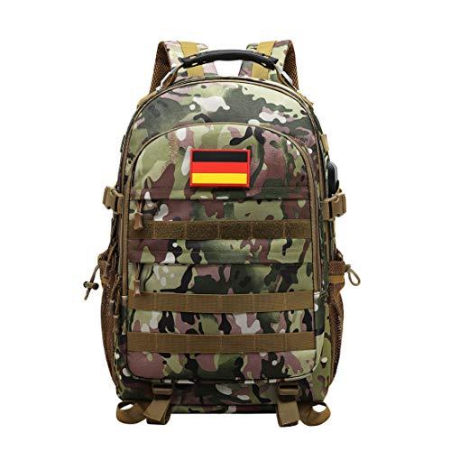 JOTHIN Taktischer Rucksack Herren Sport Backpack Outdoor Tagesrucksack Wasserdicht Armyrucksack Oxford-Tuch Rucksäcke mit USB für Survival Militär (40L)(Brown-1)