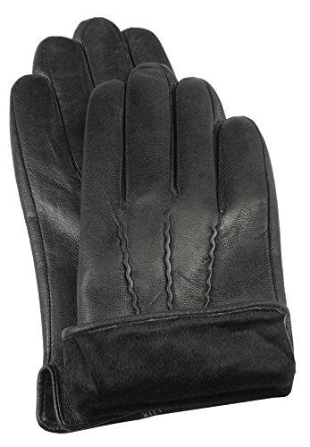 Messori kaschmirwolle classique pour homme avec doublure en cuir-noir-m6 Noir - Noir