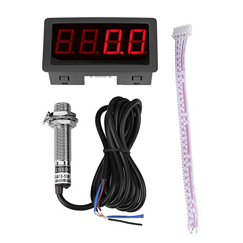 Tachymètre d'Affichage Numérique 4 à LED Panneau de Compteur de Vitesse RPM Capteur NPN d'Effet Interrupteur Proximité Rouge /Bleu (Red)