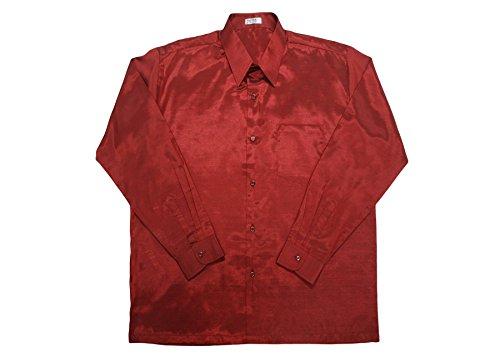 Thai Silk -  Camicia Casual  - Uomo Design #14 Red
