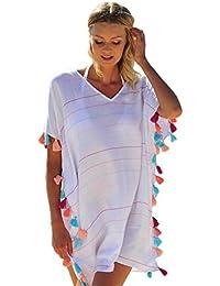 769436d82cc77 Maniok1 Women Casual V-Neck Short Sleeve Striped Print Tassel Bikini Cover-up  Beach