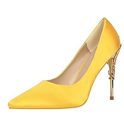 184dd0013084 OALEEN Escarpins Elégant Femme Bout Pointu Satin Chaussures Talon ...