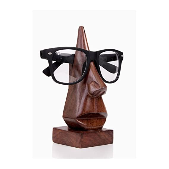 THE DIGITAL STORE Happy Diwali Gifts Handmade Wooden Nose Shaped Spectacle Specs Eyeglass Holder stand