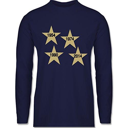 Fußball - Weltmeister 2014 Der vierte Stern - Longsleeve / langärmeliges T-Shirt für Herren Navy Blau