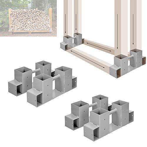 ECD Germany 4er Set Stapelhilfe für Kaminholz - aus pulverbeschichtet Eisen - Brennholz Holzstapelhilfe Holzstapelhalter Feuerholz Kaminholzregal