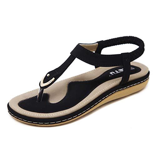 Dansko Roxy (Frauen böhmischen T-Strap Flache Sandalen Slip on Gummiband Thong Flip Flops Sommer Strand Schuhe)