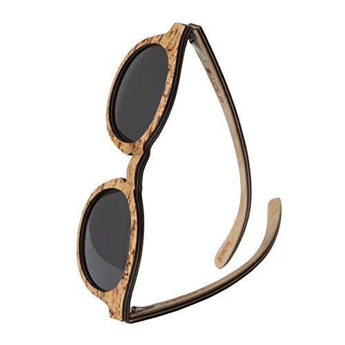 WOLA Damen Sonnenbrille Holz SELVA Brille rund polarisiert UV400 Kork Damen M