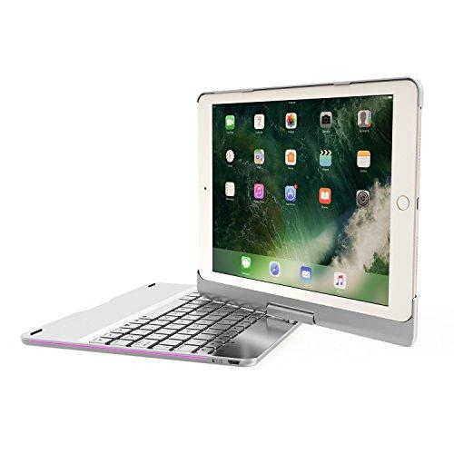 Aluminium Drahtlose Bluetooth Tastatur Fall für iPad mit 7 Farben Hintergrundbeleuchtung und 540 Grad Horizontale Rotation Tablette Smart Hülle für iPad Air/Air 2, iPad Pro 9,7'' und 2017/2018 Neue iPad 9,7