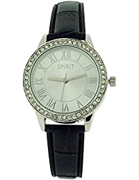 Spirit Ladies Roman Numerals Crystal Bezel Black Pu Strap Dress Watch ASPL57