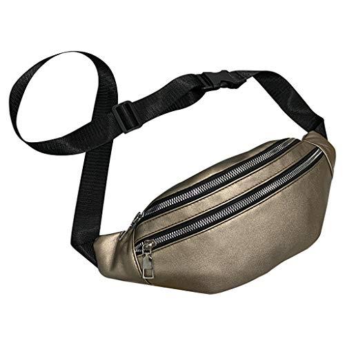 Hüfttasche Hipster Crossbody Tasche für Unisex/Skxinn Sport Bauchtasche Umhängetasche Gürteltasche - geeignet für alle Outdoor-Aktivitäten -Double Reißverschluss - für Handy und Wertsachen(Gold)
