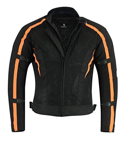 Black Tab Air Mesh Jacke Motorrad/Scooter abnehmbarer Liner wasserdicht und Protektoren CE zertifiziert 1621-1Schwarz/Orange XX-Large Schwarz/Orange Air-mesh-liner