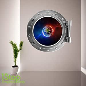 1Stop Graphics - Shop FULL COLOUR SPACE PLANET PORTHOLE WALL STICKER - BEDROOM LOUNGE SEA DECAL P18 - Size: Small