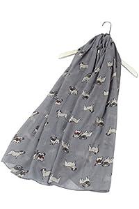 SEW ELEGANT NEU Adorable Animal Design Mops Hund Curled Tail Print Schal (Grau)
