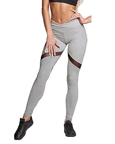 Foto de Mujer Pantalon Deporte de Yoga Leggins Mallas Cintura Alta para fitness Running Fitness con Elastico y Transpirable Pantalones al aire libre Gris S